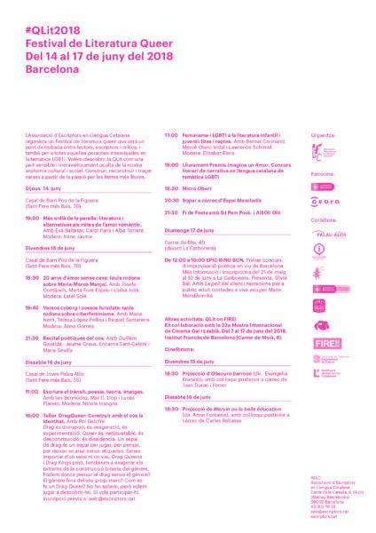 14- 17/06::. Festival de Literatura Queer #QLit2018, passió per les lletres més lliures