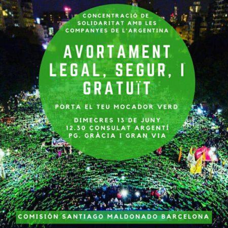 13/06::. Concentració de solidaritat amb les companyes de l'Argentina- Avortament legal, segur i gratuït