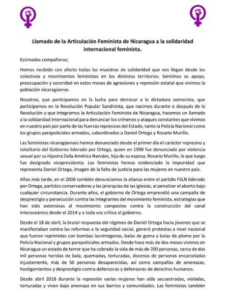 Llamado Solidaridad Internacional Feminista de Articulación Feminista #Nicaragua!