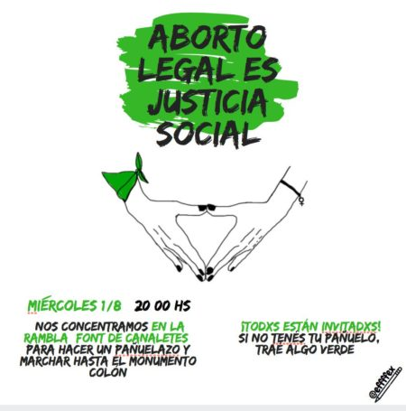 01/08::. Concentració a la Font de Canaletes per la campaña argentina 'Aborto legal es justicia social'