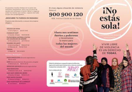 01/09::. Dones migrades elaboren un tríptic de prevenció i actuació davant les violències masclistes