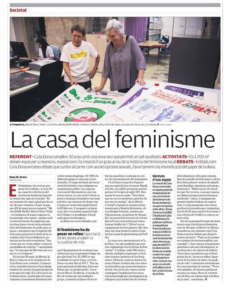 05/11::. La casa del feminisme- Article de Ca la Dona al Punt Avui +