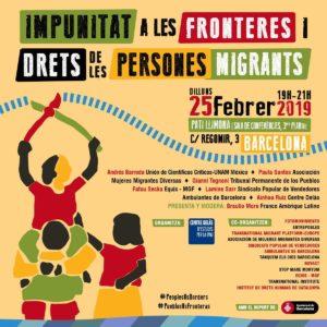 25/02::. Taula rodona 'Impunitat a les fronteres i Drets de les persones migrants' al Pati Llimona. Organitza: Centre Delàs d'Estudis per la Pau