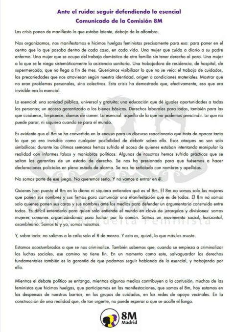 [Comisión 8M] Ante el Ruido: Seguir Defendiendo lo Esencial